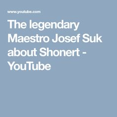 "Violin Maestro Josef Suk (Great-grandson of Antonin Dvorak) about Shonert and his interpretation of Dvorak's compositions in the show ""Z metropole"" on Czech . Good Things, Youtube, Videos, Video Clip, Youtube Movies"