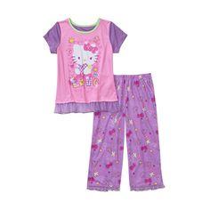 Hello Kitty Girls'' 2 Piece Tee and Pant Pajama Set Pajama Set, Pajama Pants, Toddler Girl, Hello Kitty, Tees, Walmart, Girls, Fashion, Toddler Girls