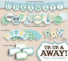 HOT AIR BALLOON Cupcake Toppers & Party by PrintasticDesign