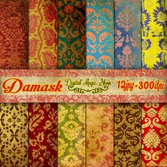 12 Vintage Renaissance Damask Digital Paper Pack Part 2 - (paper crafts,card making,scrapbooking) Personal and Commercial use