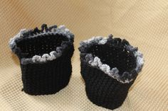 Black Frilly Adult Crochet Boot Cuffs by SisterHippies on Etsy, $10.00