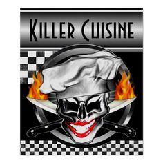 Lady Chef Skull Poster: Killer Cuisine