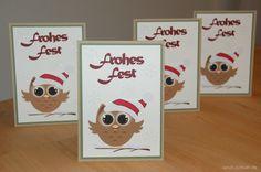 "Weihnachtskarten ""Eule"" / Christmas cards ""owl"" ||| Stampin' Up! ||| Eule/Owl, Flüsterweiss/Whisper White, Savanne/Crumb Cake, Silhouette Cameo"