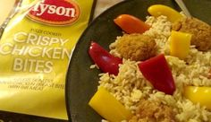Quick & Easy Dinner inspiration with Tyson Crispy Chicken Bites, sweet peppers, and rice #MealsTogether #cbias