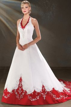 2012 Bride Red and White Halter Wedding Dress Bridal Gown Bodice Wedding Dress, Wedding Dress Train, Wedding Gowns, Wedding Ceremony, Colored Wedding Dresses, Bridal Dresses, Bridesmaid Dresses, Wedding Dress With Red, Blue Wedding