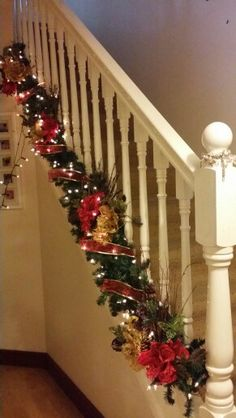 Christmas Decorations, Christmas Tree, Holiday Decor, Garland, Stairs, Home Decor, Christmas Stairs Decorations, Teal Christmas Tree, Stairway