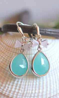 Sweet Turquoise Teardrop and Soft Pink Bow