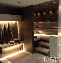 TAIVE sauna product line provides complete solutions for sauna interiors. It´s smooth, elegant design creates a harmonious atmosphere in your sauna as well as other interiors in your spa. In addition, thoughtfully designed Cariitti lighting solutions emphasize the surfaces and shapes of the materials. TAIVE interior is a timeless, long-lasting design solution that will create unforgettable sauna experiences for you and your guests. Sauna Design, Lighting Solutions, Smooth, Spa, Shapes, Interiors, Interior Design, Elegant, Create