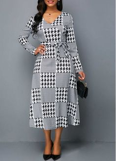 White Dresses Long Sleeve V Neck Houndstooth Print Dress White Long Sleeve  Dress 3adc2865d