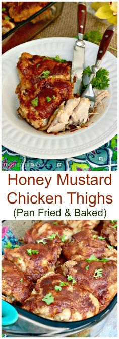 Honey Mustard Chicken Thighs with a hint of sweetness followed with a tangy spicy bite! The chicken is lightly pan fried and then baked to perfection!
