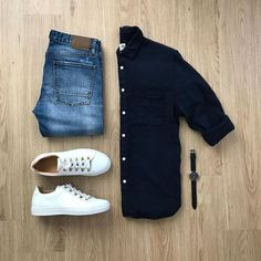 Men Casual Shirt Outfit 🖤 Very Attractive Casual Outfit Grid, Business Casual Attire For Men, Men Casual, Casual Shirt, Black Shirt Outfit Men, Business Formal, Professional Attire, Grey Shirt, Smart Casual, Mens Fashion Suits