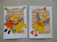 """Kids can redo with """"Hark the Herald Angels."""" in background with cut-out angels on top. Christmas Arts And Crafts, Kids Christmas, Christmas Cards, Classroom Art Projects, Winter Art Projects, Music Crafts, Christian Crafts, Angel Crafts, Sunday School Crafts"""