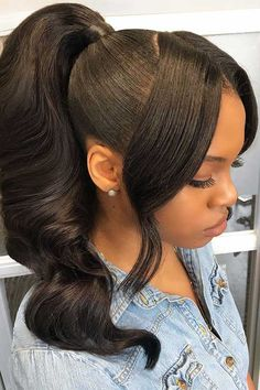 Gorgeous high ponytail 🔥😍who wanna rock it?🤗Thriving Hair Body Wave Virgin Human Hair High Density Pre-Plucked 360 Lace Wigs naturlocken Gorgeous high ponytail 🔥😍who wanna rock it? Easy Hairstyles For Medium Hair, Ponytail Hairstyles, Weave Hairstyles, Hair Updo, Relaxed Hairstyles, Curls Hair, Short Hairstyles, Bob Hairstyle, Updos