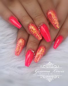 Neon acrylic nails by Neon Coral Nails, Coral Acrylic Nails, Bright Summer Acrylic Nails, Coral Nails With Design, Acrylic Nail Designs, Nail Art Designs, Fire Nails, Dipped Nails, Bridal Nails