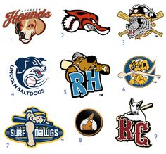 The unique and often-a-little-goofy mascots and logos of minor league teams — several of those that are dog-themed.