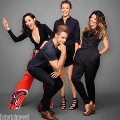 """Gal Gadot, Chris Pine, Connie Nielsen, and Patty Jenkins photographed while promoting """"Wonder Woman"""" at Comic-Con in 2016."""
