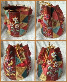 ideas crazy quilting bag embroidery for 2019 Fabric Crafts, Sewing Crafts, Sewing Projects, Sewing Tips, Patchwork Bags, Quilted Bag, Crazy Quilting, Quilting Ideas, Bag Quilt