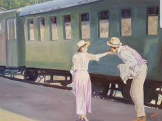 """Eine Szene von dem Film """"das Mädchen und den Tod"""" über das Leben von Egon Schiele. #Abschied #liebe #Zug #reisen #Romantik #Schiele Etsy Seller, Movie, Painted Canvas, Going Away, Scene, Train, Travel"""