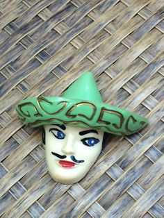 Vintage Old Plastic Brooch Mexican Man by JanetsVintagePlanet