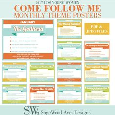 2017 LDS YW Come Follow Me Monthly Theme Lesson Posters | Etsy Newsletter Template Free, Plan Of Salvation, Monthly Themes, Photo Center, Follow Me, Lds, Young Women, Faith, How To Plan