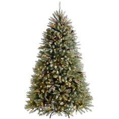 Pre-Lit Decorated Snow 7' Green Pine Artificial Christmas Tree with 600 Warm-White LED Lights