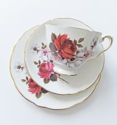 Vintage English China Tea Set. Royal Stafford Bone China Trio. Tea for One Set., Gift under 25