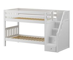 Maxtrix STACKER Low Bunk Bed with Stairs Twin Size White