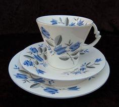 1930s ART DECO Vintage ROYAL ALBERT Crown Bone China TRIO Cup Saucer Plate