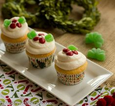 Holly Topped White Cupcake #Christmas Week - That Skinny Chick Can Bake