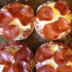 Half whole wheat English muffins. Top with pizza or spaghetti sauce, low fat cheese, and turkey pepperoni. You could also top with spinach, tomatoes, chicken, anything! Bake at 375 for 10-12 minutes. Enjoy!