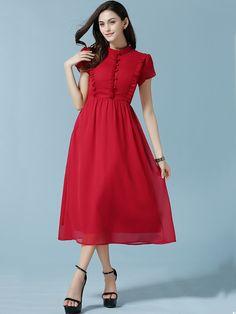 Red Stand Collar Fungus Chiffon Dress 21.33