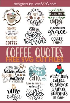 Free Funny Coffee Quotes SVG Cut Files - Free SVG Cut Files for Cricut & Silhouette for coffee lovers - Cricut Svg Files Free, Cricut Fonts, Cricut Vinyl, Silhouette Design, Silhouette Projects, Silhouette Cameo Disney, Planners, Cricut Tutorials, Cricut Ideas
