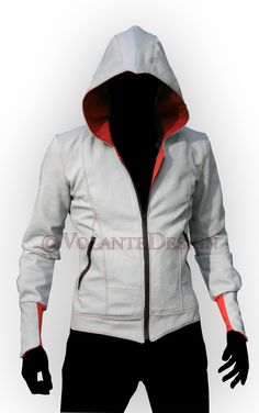 Volante Design | Assassin Jacket. The most basic, and yet most iconic modern assassin hoodie. Clean lines, bracers, the basic peaked hood, a slight secondary collar, zippered pockets and colored gussets.                                                                                                                                                                                 More