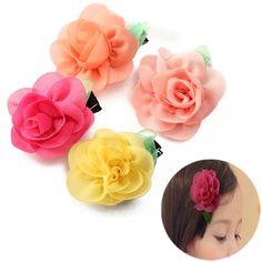 Sale 17% (1.52$) - Baby Girl Chiffon Rose Flower Clip Kids Toddler Accessories Hair Headband