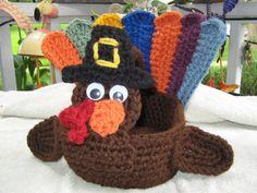 Crochet Thanksgiving Turkey Basket/Centerpiece on Etsy, $25.00