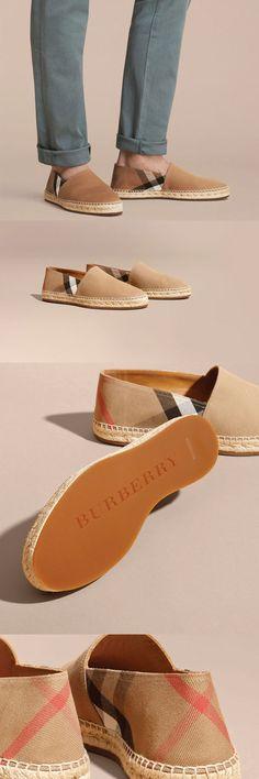 Burberry Canvas Check Espadrilles $395 #ads men shoes
