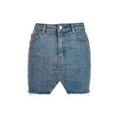 TopShop Moto Denim Cut Out Mini Skirt (490 SEK) ❤ liked on Polyvore featuring skirts, mini skirts, bottoms, mid stone, denim skirt, short mini skirts, denim mini skirt, short blue skirt and topshop skirts