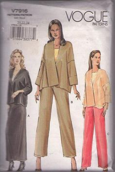 MOMSPatterns Vintage Sewing Patterns - Vogue 7916 Retro 2004 Sewing Pattern AVANT GARDE Asymmetrical Draped Front Jacket, Maxi Skirt, Pants Size 20-24
