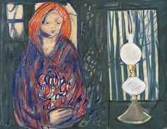 Kai Fjell 'Girl with a Lamp' Modern Art, Contemporary, 2d Art, Norway, Woodworking, Portraits, Paintings, Culture, Artists