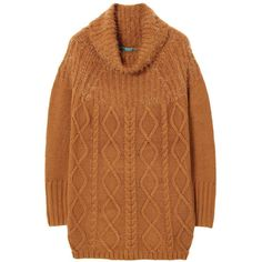 Camel Cable Knit Long Sweater ($54) ❤ liked on Polyvore featuring tops, sweaters, camel, camel top, brown tops, chunky cable sweater, cable knit sweater and acrylic sweater