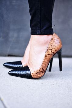 Black and brown heels