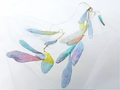 Wind Feathers (necklace)  This lariat necklace with fabric accessories at both ends can be styled to your liking. The delicate shading of Kaga yuzen dyeing is used for optimum effect to recall the seamless gradations of color one sees in the changing of the seasons.