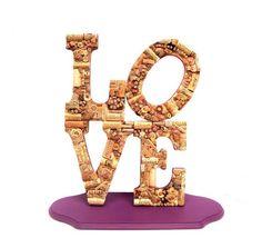 Handmade Vintage Wine Cork Letter LOVE Statue