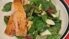 Honey mustard glazed salmon with spinach salad