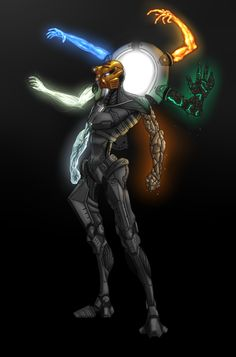 """bionicle-art-squad:BIONICLE Art Squad Challenge Week 21: Toa Nui by just-a-drawing-cat  """"The hardest part was mixing all 6 Masks together, but i actually kinda did it. i wanted this character to be this übertoa that doesnt even need toa tools, the arms of it are made out of pure elements! I kept the body monochrome, just because having the cholorschemes of all six toa would look super silly."""""""