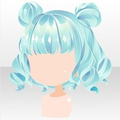 Twinkle Jewelry Twin Buns Hair ver.A green Female Anime Hairstyles, Chibi Hair, Manga Hair, Hair Reference, How To Draw Hair, Doll Hair, Jewelry Party, Hair Art, Hair Designs