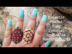Crochet Easy Flower Square Motif - ideas hermosas y diferentes Diy Beaded Rings, Beaded Bracelets Tutorial, Earring Tutorial, Resin Tutorial, Beaded Jewelry Patterns, Bracelet Patterns, Beading Patterns, Seed Bead Earrings, Beaded Earrings