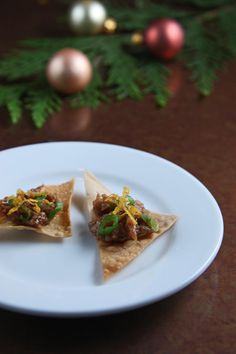 duck confit nachos garnished with tangerine and scallions