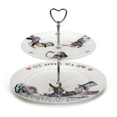 Mrs Moore's Vintage Store Alice in Wonderland 2 Tier Cake Stand (€74) ❤ liked on Polyvore featuring home, kitchen & dining, serveware, alice in wonderland, home decor, kitchen, alice, filler, multi and white cake stand