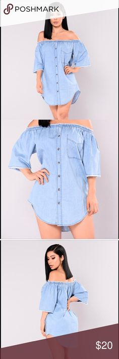 ✨Chambray Dress from Fashion Nova!✨ Very cute and trendy off the shoulder denim dress. Slightly darker than in the picture with the model but still cute.   Never been worn! I just tried it on. A bit too short for my long legs ☺️   Make me an offer! Fashion Nova Dresses Mini